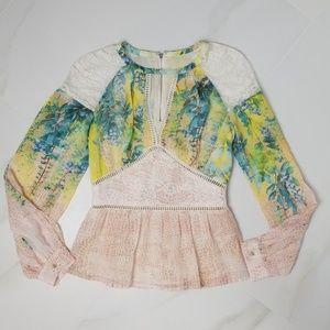Bebe | Floral Sheer Shoulder Long Sleeve Blouse